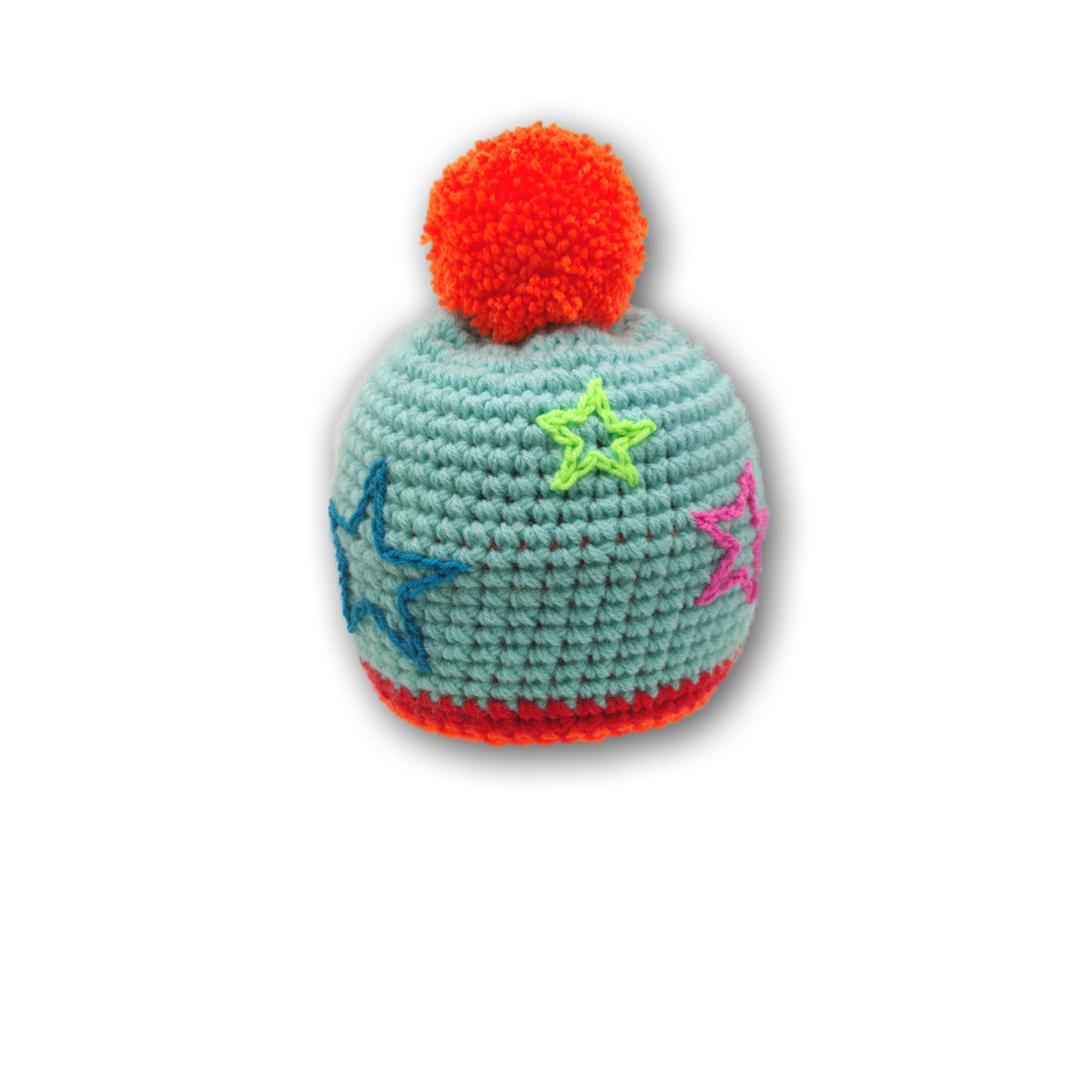 pink bommel mütze mit sternen stickerei