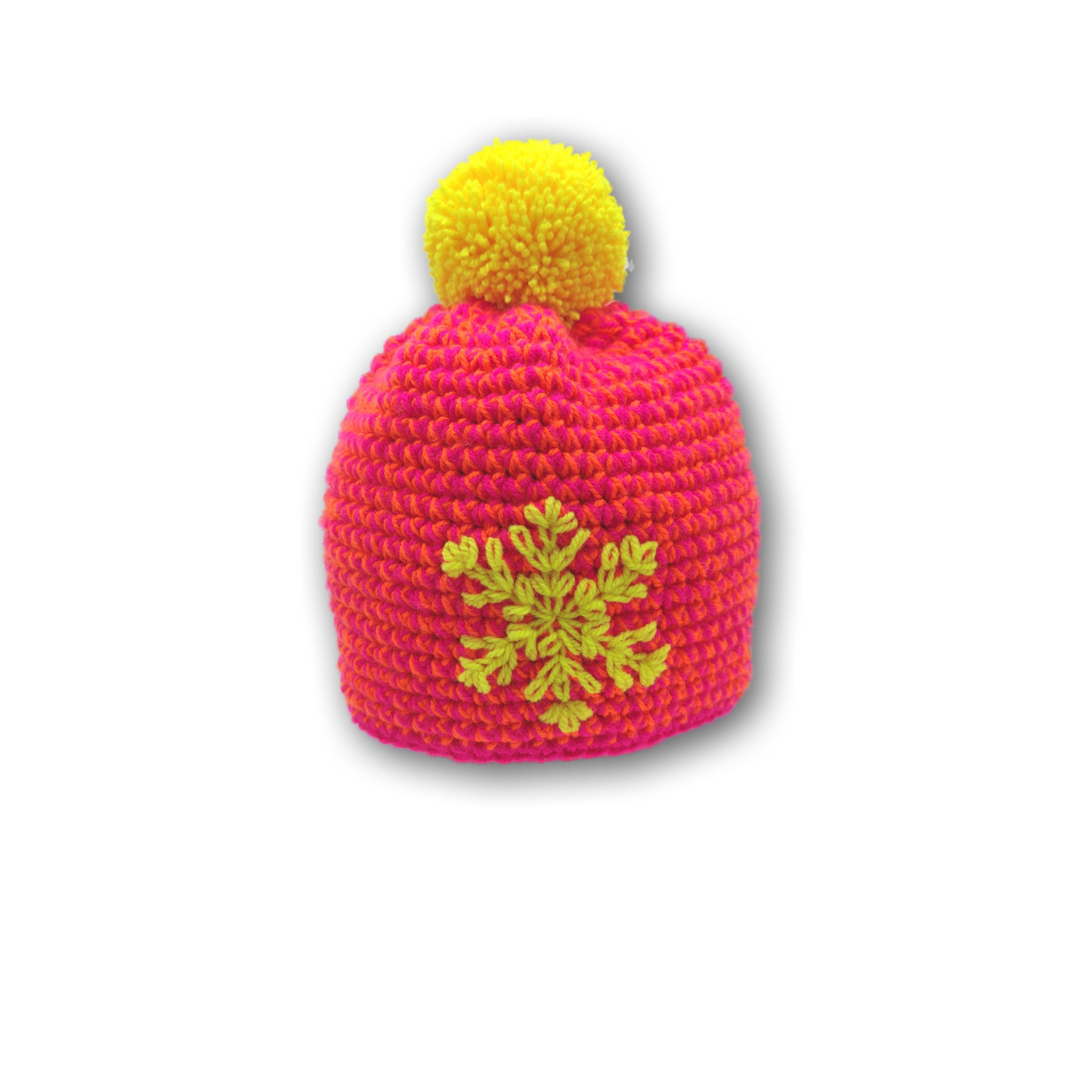 pink bommel mütze gehäkelt schneekristall