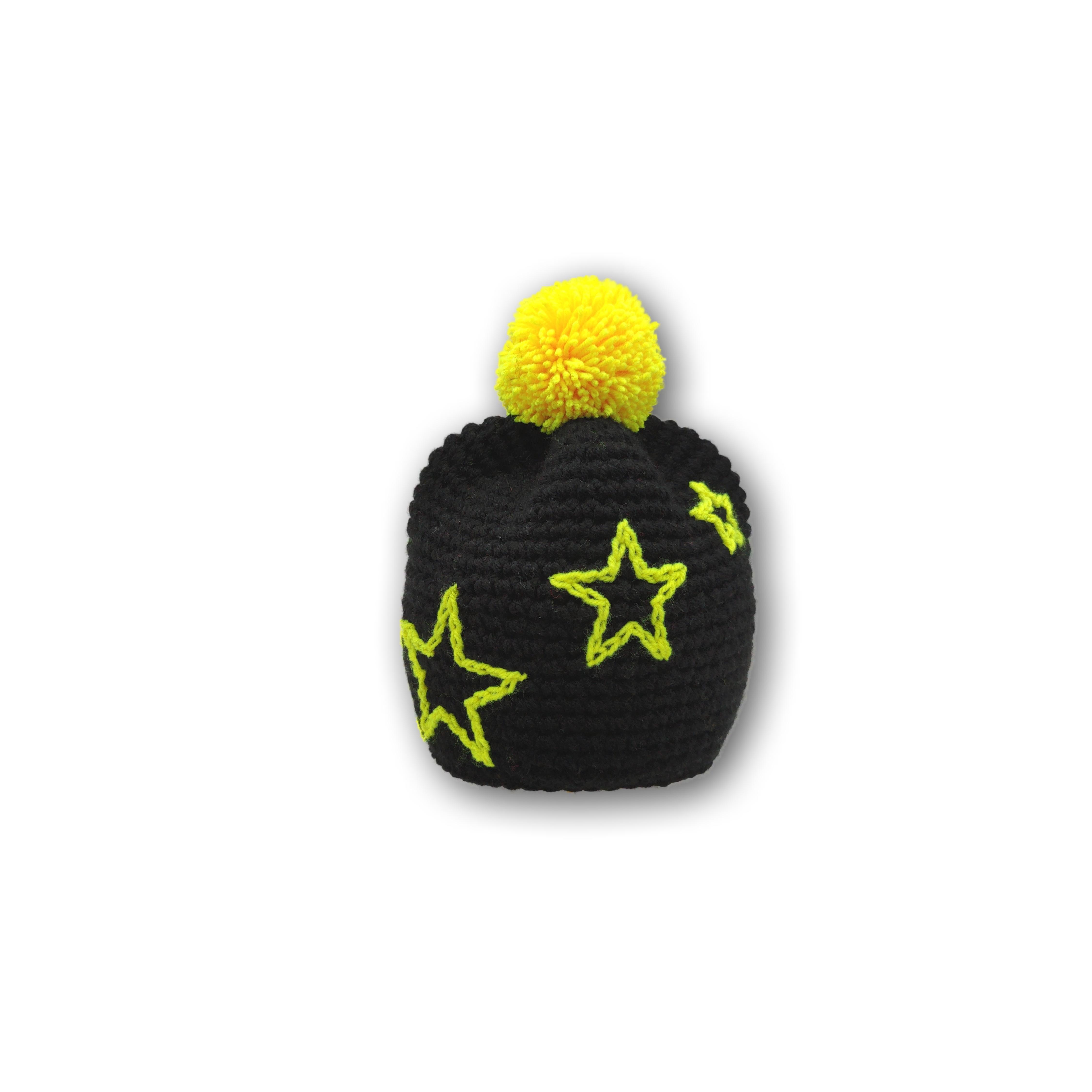 bommel mütze gehäkelt mit sternen