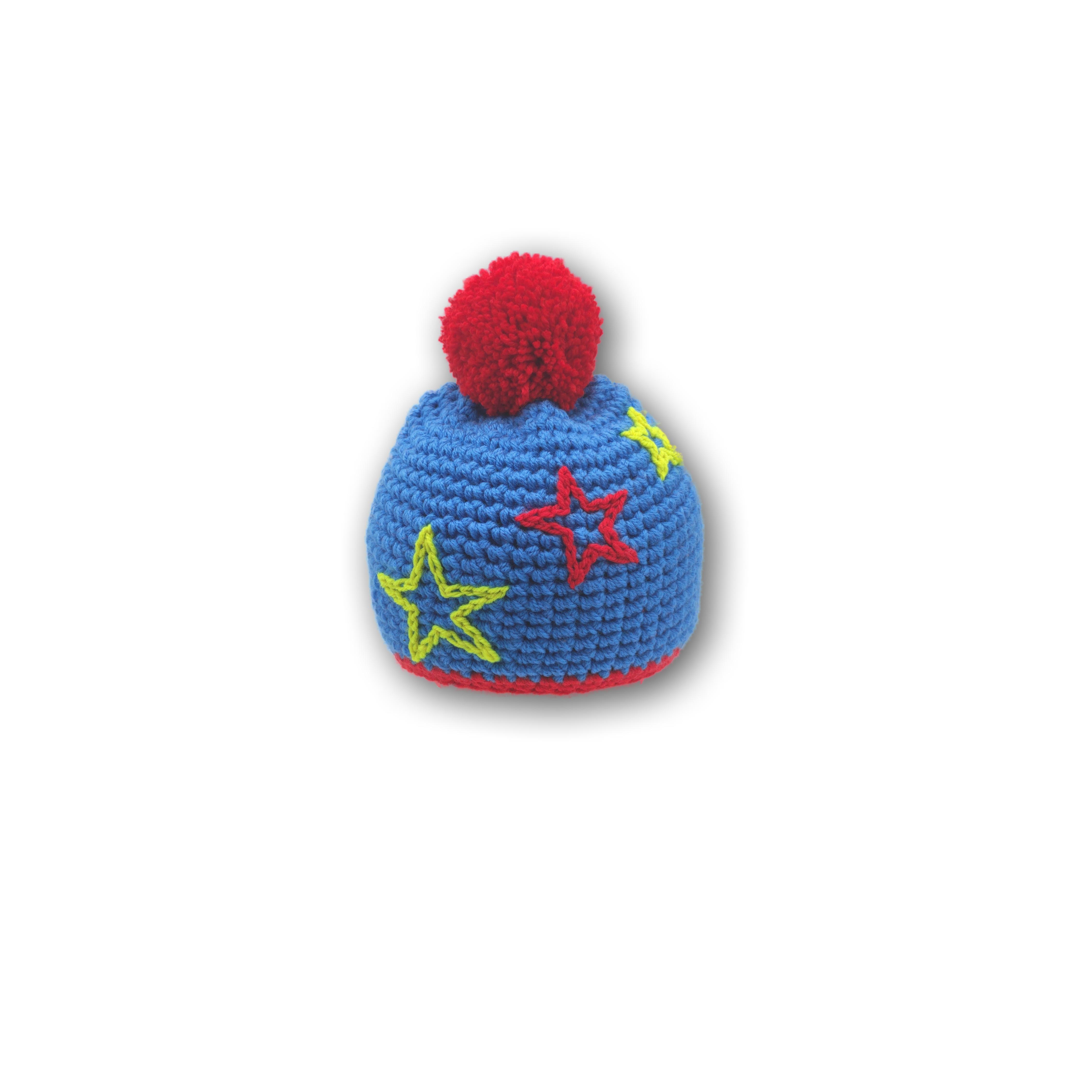 kinder mütze blau rot gelb