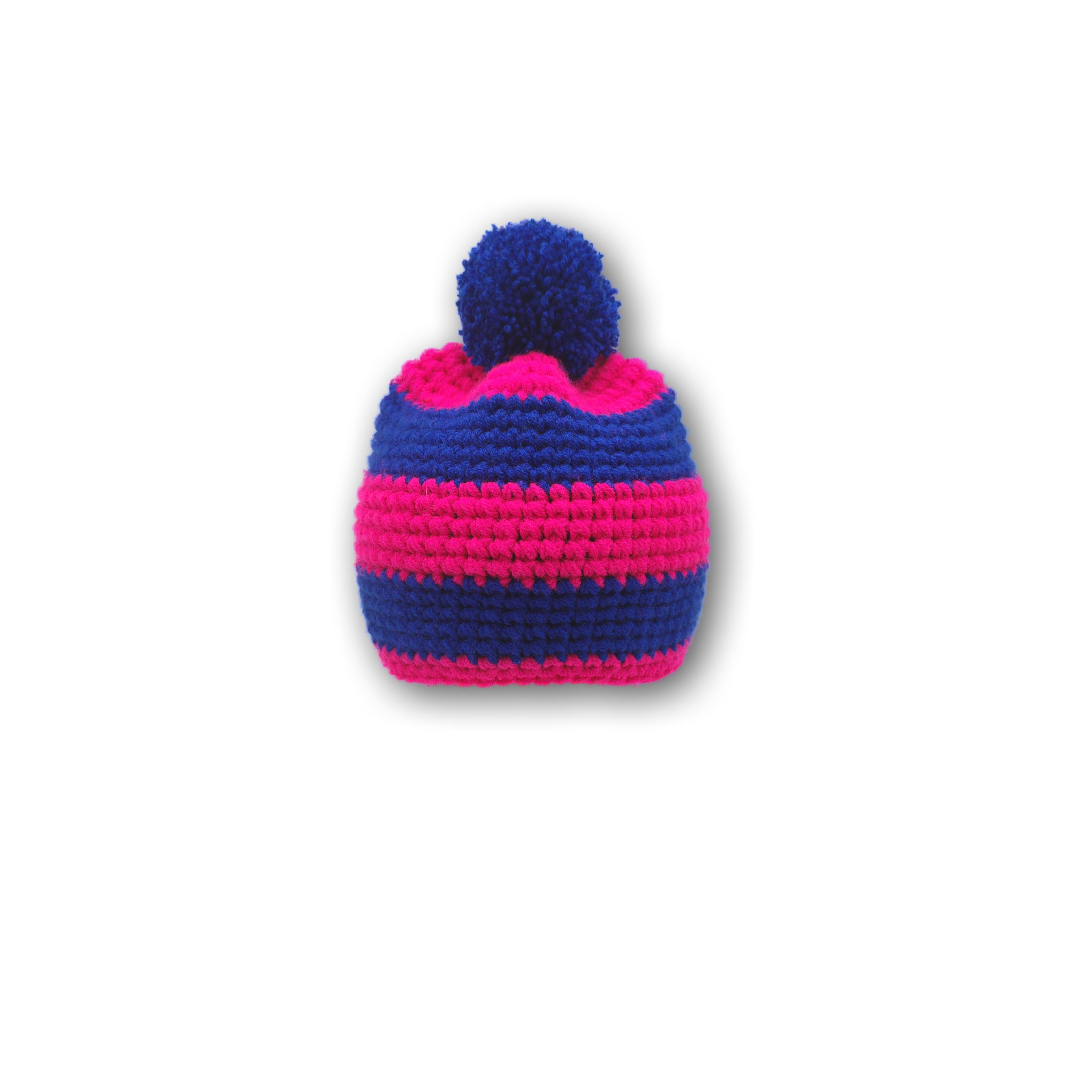mütze gestreift pink und blau