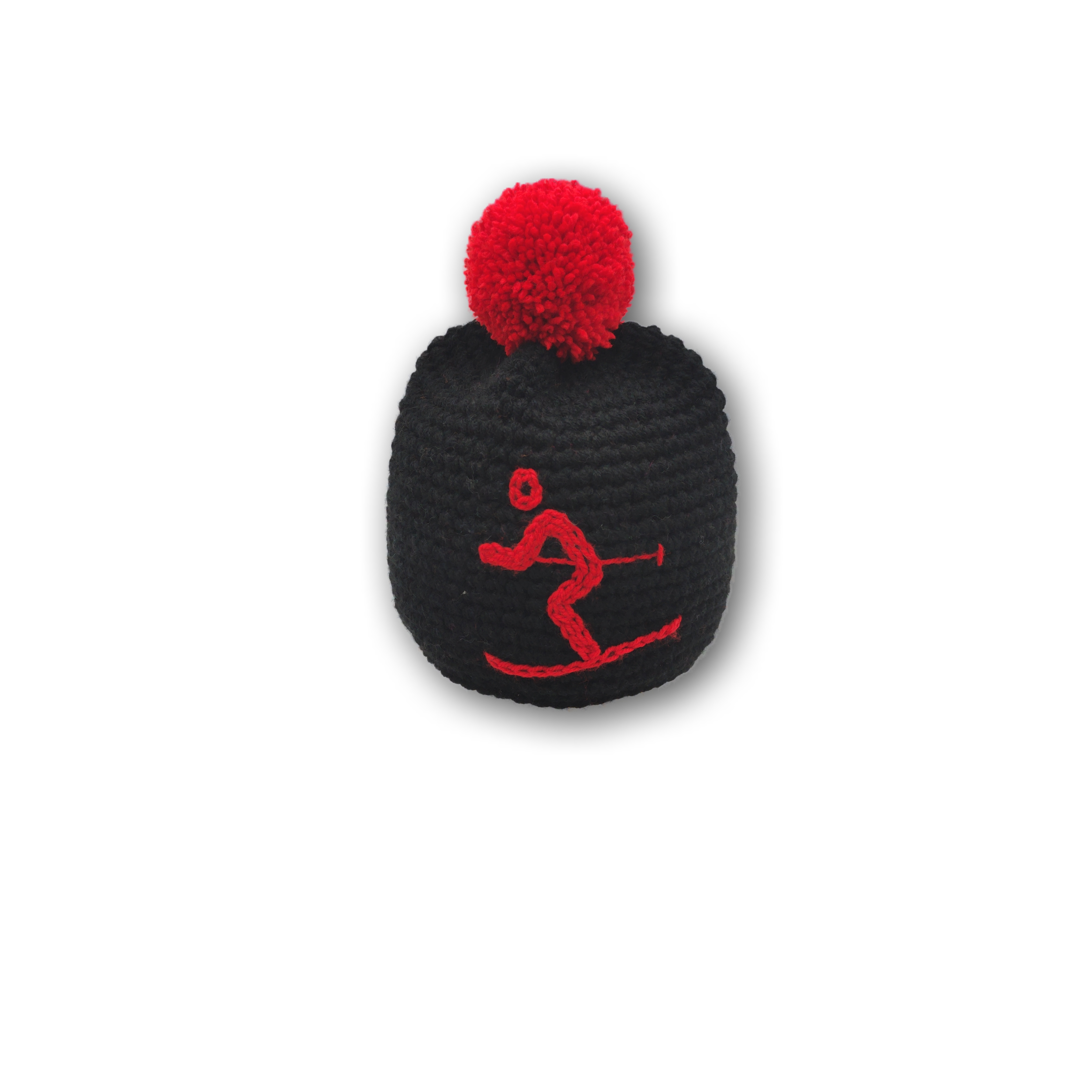 mütze ski pink bommel wolle